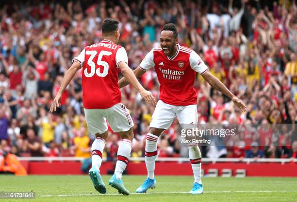 PierreEmerick Aubameyang of Arsenal celebrates after a Gabriel Martinelli of Arsenal scores a goal which is later disallowed during the Emirates Cup...