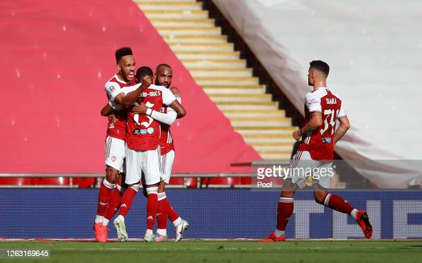 Pierre-Emerick Aubameyang of Arsenal celebrates after he scores his sides first goal from the penalty spot during the Heads Up FA Cup Final match...