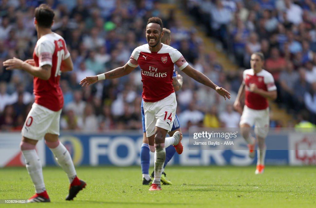 Pierre-Emerick Aubameyang of Arsenal celebrates after scoring a goal to make it 1-2 during the Premier League match between Cardiff City and Arsenal FC at Cardiff City Stadium on September 2, 2018 in Cardiff, United Kingdom.