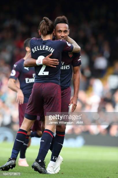 PierreEmerick Aubameyang of Arsenal celebrates after scoring a goal to make it 51 with Hector Bellerin of Arsenal during the Premier League match...
