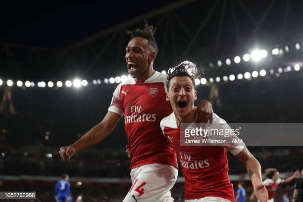 PierreEmerick Aubameyang of Arsenal celebrates after scoring a goal to make it 30 during the Premier League match between Arsenal FC and Leicester...