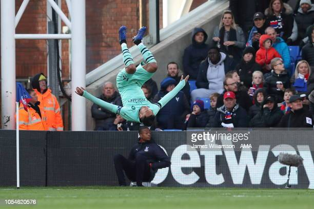 PierreEmerick Aubameyang of Arsenal celebrates after scoring a goal to make it 21 during the Premier League match between Crystal Palace and Arsenal...