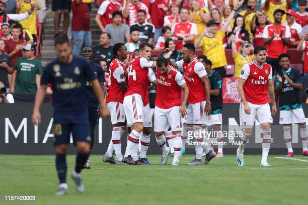 Pierre-Emerick Aubameyang of Arsenal celebrates after scoring a goal to make it 0-2 during the International Champions Cup fixture between Real...
