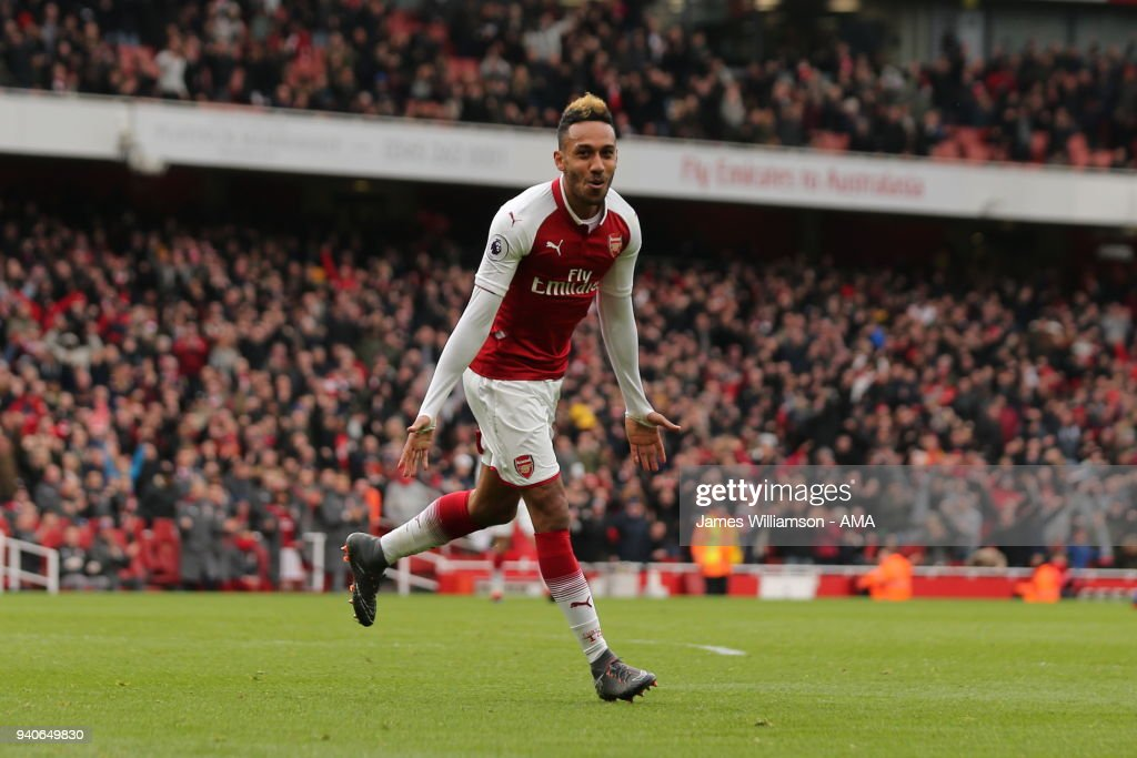 Pierre-Emerick Aubameyang of Arsenal celebrates after scoring a goal to make it 2-0 during the Premier League match between Arsenal and Stoke City at Emirates Stadium on April 1, 2018 in London, England.