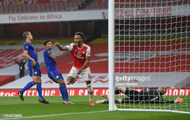 PierreEmerick Aubameyang of Arsenal celebrates after scoring during the Premier League match between Arsenal FC and Leicester City at Emirates...