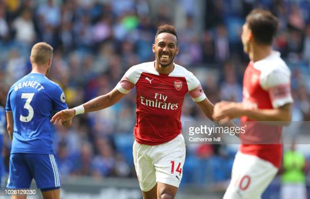 Pierre-Emerick Aubameyang of Arsenal celebrates after scoring his team's second goal during the Premier League match between Cardiff City and Arsenal...
