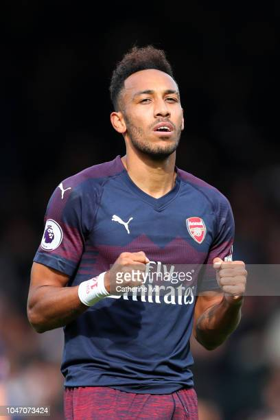 PierreEmerick Aubameyang of Arsenal celebrates after scoring his team's fifth goal during the Premier League match between Fulham FC and Arsenal FC...