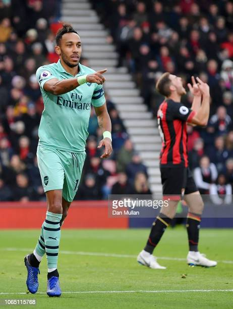 PierreEmerick Aubameyang of Arsenal celebrates after scoring his team's second goal during the Premier League match between AFC Bournemouth and...