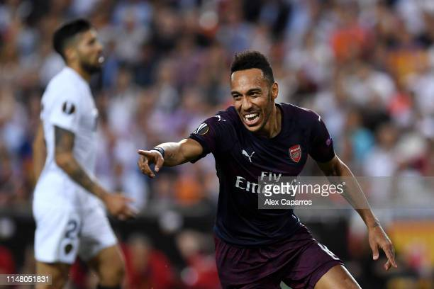 PierreEmerick Aubameyang of Arsenal celebrates after scoring his team's first goal during the UEFA Europa League Semi Final Second Leg match between...