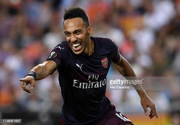 PierreEmerick Aubameyang of Arsenal celebrates after scoring his team's first goal during the UEFA Europa League Semi Final Second Leg match between...