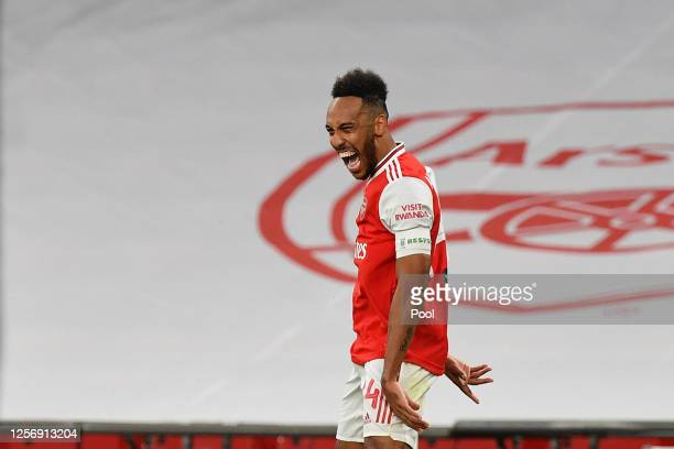 PierreEmerick Aubameyang of Arsenal celebrates after scoring his team's second goal during the FA Cup Semi Final match between Arsenal and Manchester...