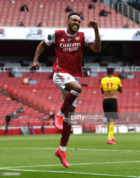 PierreEmerick Aubameyang of Arsenal celebrates after scoring his sides third goal during the Premier League match between Arsenal FC and Watford FC...