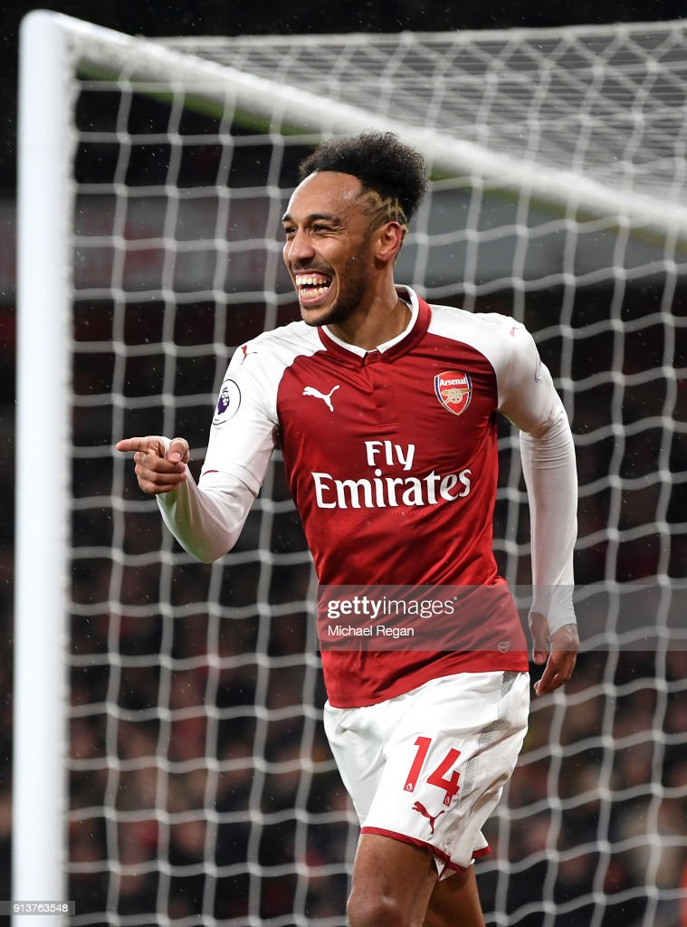 Pierre-Emerick Aubameyang of Arsenal celebrates after scoring his sides fourth goal during the Premier League match between Arsenal and Everton at Emirates Stadium on February 3, 2018 in London, England.