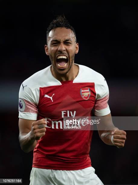 PierreEmerick Aubameyang of Arsenal celebrates during the Premier League match between Arsenal FC and Tottenham Hotspur FC at the Emirates Stadium on...