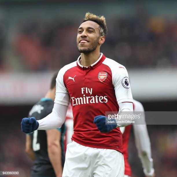 PierreEmerick Aubameyang of Arsenal celebrates his goal during the Premier League match between Arsenal and Southampton at Emirates Stadium on April...