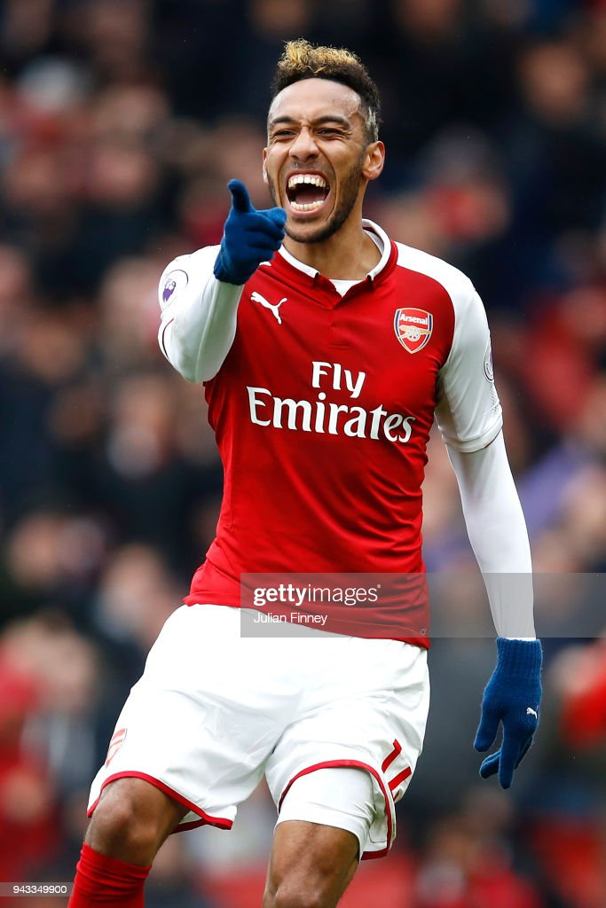 Pierre-Emerick Aubameyang of Arsenal celebrates scoring his sides first goal during the Premier League match between Arsenal and Southampton at Emirates Stadium on April 8, 2018 in London, England.