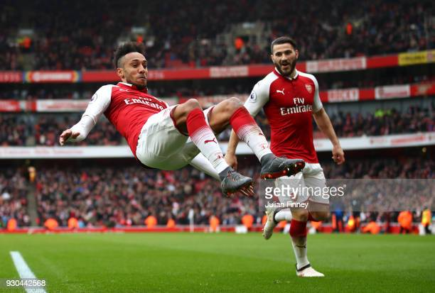 PierreEmerick Aubameyang of Arsenal celebrates scoring the 2nd Arsenal goal with Sead Kolasinac of Arsenal during the Premier League match between...