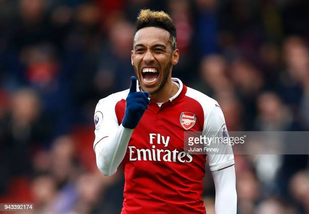 PierreEmerick Aubameyang of Arsenal celebrates scoring the first goal during the Premier League match between Arsenal and Southampton at Emirates...