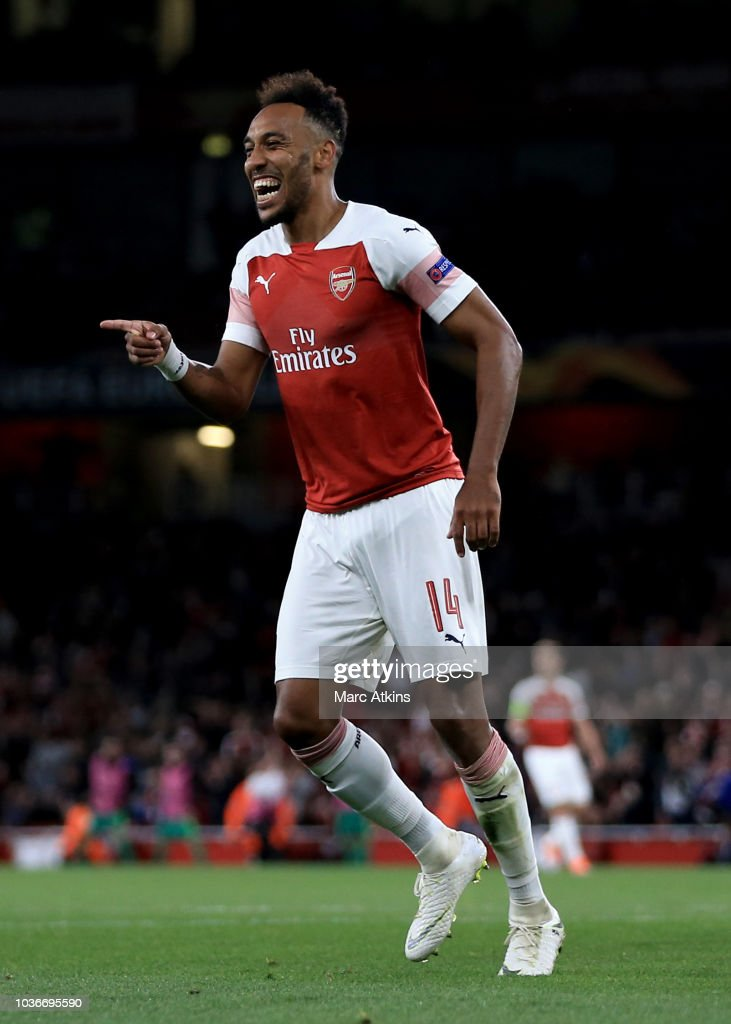 Pierre-Emerick Aubameyang of Arsenal celebrates scoring their 3rd goal during the UEFA Europa League Group E match between Arsenal and Vorskla Poltava at Emirates Stadium on September 20, 2018 in London, United Kingdom.