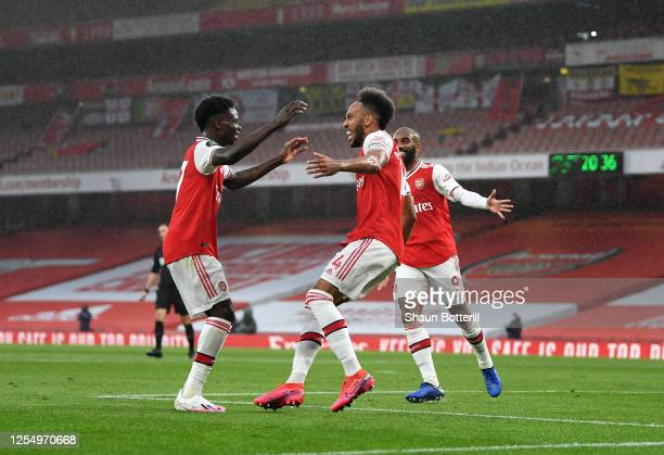 PierreEmerick Aubameyang of Arsenal celebrates with Bukayo Saka after scoring during the Premier League match between Arsenal FC and Leicester City...