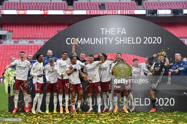 Pierre-Emerick Aubameyang of Arsenal celebrates with the Community Shield Trophy following his team's victory in during the FA Community Shield final...