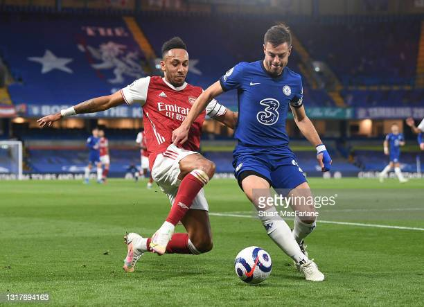 Pierre-Emerick Aubameyang of Arsenal challenged by Cesar Azpilicueta of Chelsea during the Premier League match between Chelsea and Arsenal at...