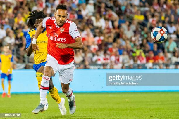 Pierre-Emerick Aubameyang of Arsenal chases a loose ball during the second half against the Colorado Rapids at Dick's Sporting Goods Park on July 15,...