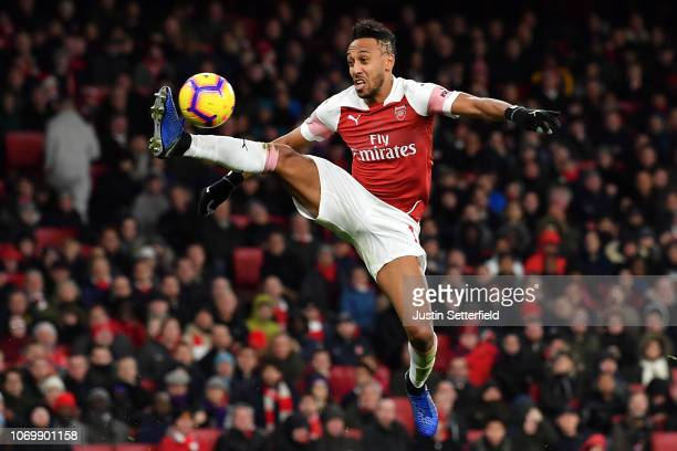 PierreEmerick Aubameyang of Arsenal contrails the ball during the Premier League match between Arsenal FC and Huddersfield Town at Emirates Stadium...