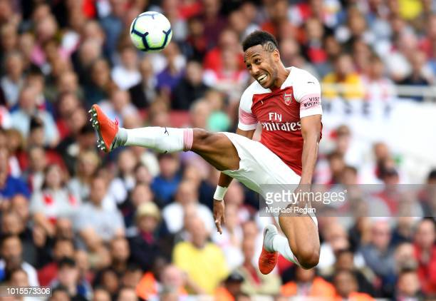 PierreEmerick Aubameyang of Arsenal controls the ball during the Premier League match between Arsenal FC and Manchester City at Emirates Stadium on...
