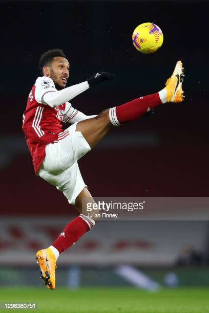 Pierre-Emerick Aubameyang of Arsenal controls the ball during the Premier League match between Arsenal and Crystal Palace at Emirates Stadium on...