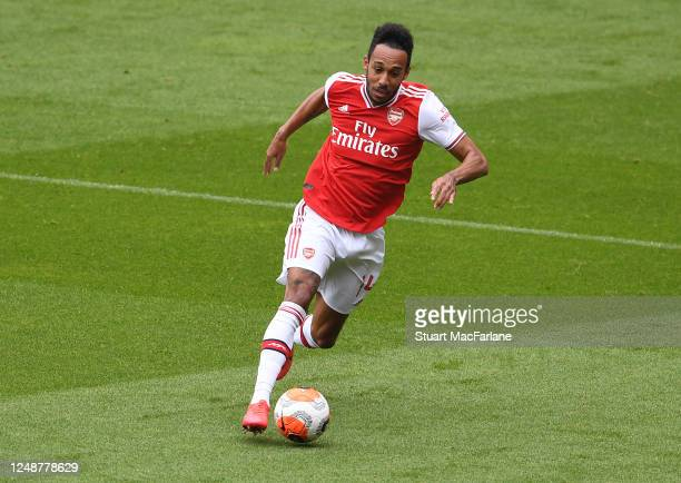 PierreEmerick Aubameyang of Arsenal during a friendly match between Arsenal and Brentford at Emirates Stadium on June 10 2020 in London England