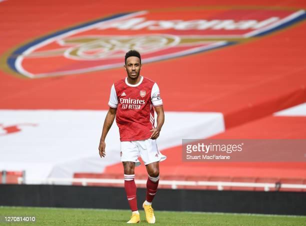 Pierre-Emerick Aubameyang of Arsenal during a pre season friendly between Arsenal and Aston Villa at Emirates Stadium on September 05, 2020 in...