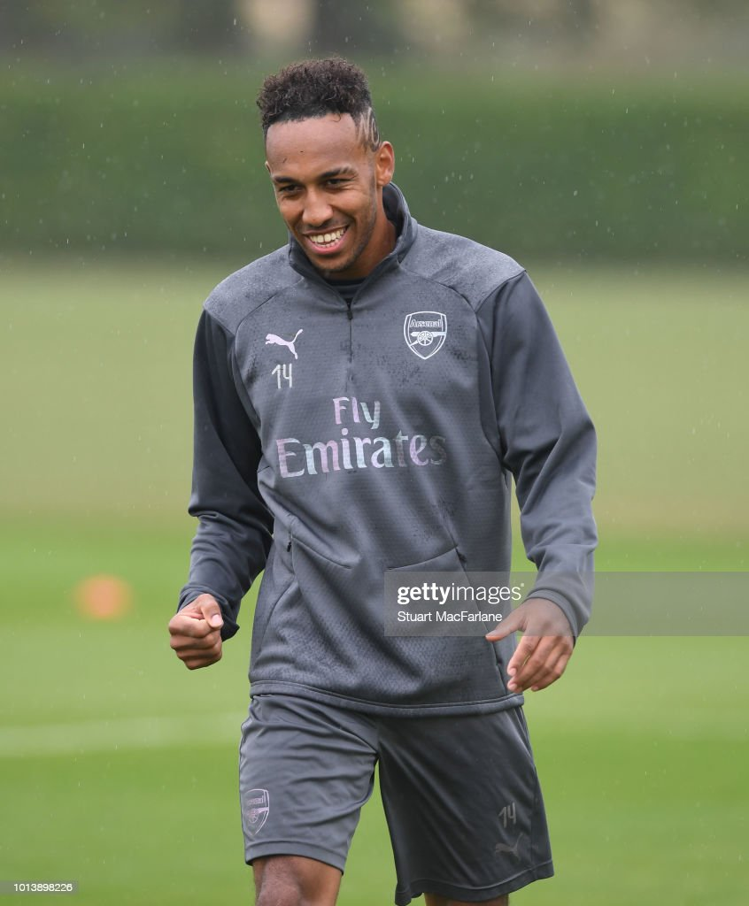 Pierre-Emerick Aubameyang of Arsenal during a training session at London Colney on August 10, 2018 in St Albans, England.