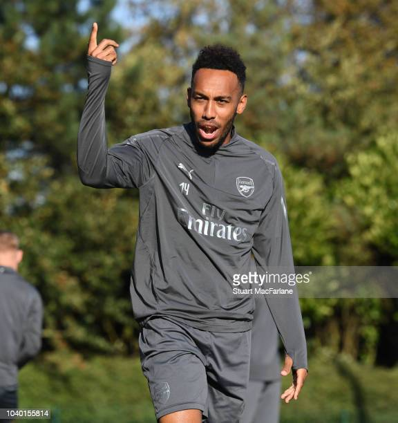 PierreEmerick Aubameyang of Arsenal during a training session at London Colney on September 25 2018 in St Albans England