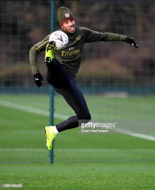 Pierre-Emerick Aubameyang of Arsenal during a training session at London Colney on January 04, 2019 in St Albans, England.