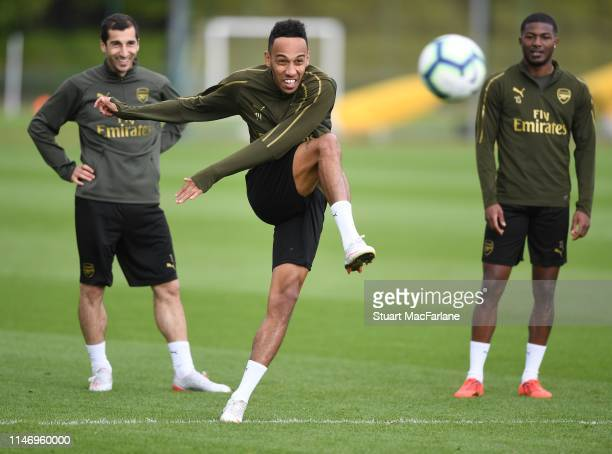 PierreEmerick Aubameyang of Arsenal during a training session at London Colney on May 04 2019 in St Albans England