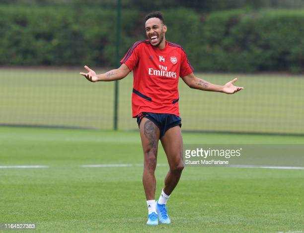 Pierre-Emerick Aubameyang of Arsenal during a training session at London Colney on July 27, 2019 in St Albans, England.