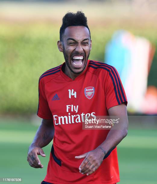 Pierre-Emerick Aubameyang of Arsenal during a training session at London Colney on September 21, 2019 in St Albans, England.