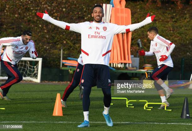 PierreEmerick Aubameyang of Arsenal during a training session at London Colney on November 30 2019 in St Albans England