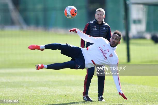 Pierre-Emerick Aubameyang of Arsenal during a training session at London Colney on March 06, 2020 in St Albans, England.