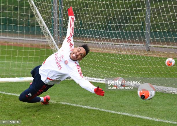 Pierre-Emerick Aubameyang of Arsenal during a training session at London Colney on March 10, 2020 in St Albans, England.