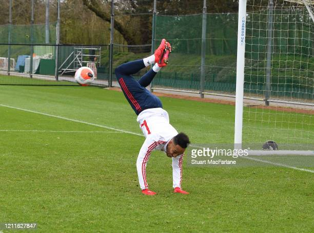 PierreEmerick Aubameyang of Arsenal during a training session at London Colney on March 10 2020 in St Albans England
