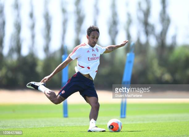 Pierre-Emerick Aubameyang of Arsenal during a training session at London Colney on May 22, 2020 in St Albans, England.