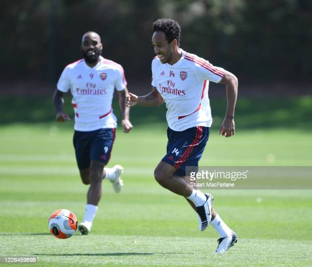 PierreEmerick Aubameyang of Arsenal during a training session at London Colney on May 22 2020 in St Albans England