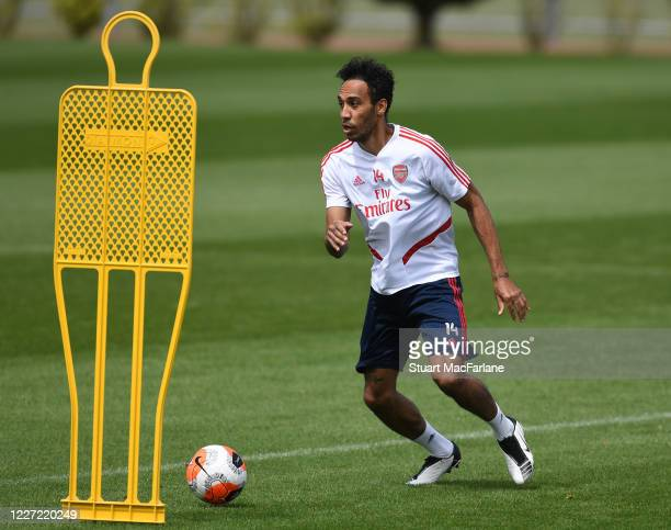 PierreEmerick Aubameyang of Arsenal during a training session at London Colney on May 26 2020 in St Albans England