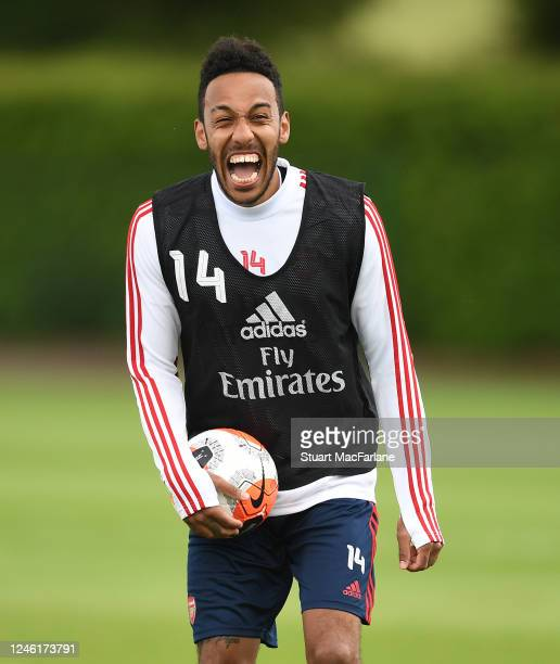 Pierre-Emerick Aubameyang of Arsenal during a training session at London Colney on June 05, 2020 in St Albans, England.