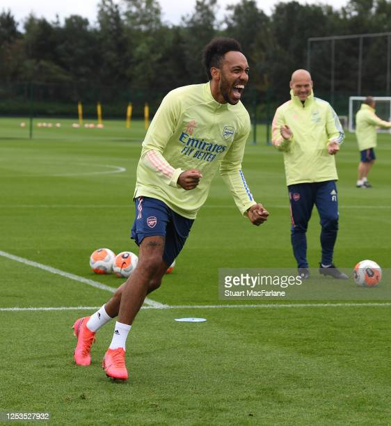 Pierre-Emerick Aubameyang of Arsenal during a training session at London Colney on June 30, 2020 in St Albans, England.