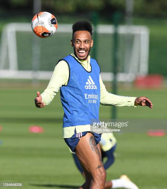 Pierre-Emerick Aubameyang of Arsenal during a training session at London Colney on July 06, 2020 in St Albans, England.