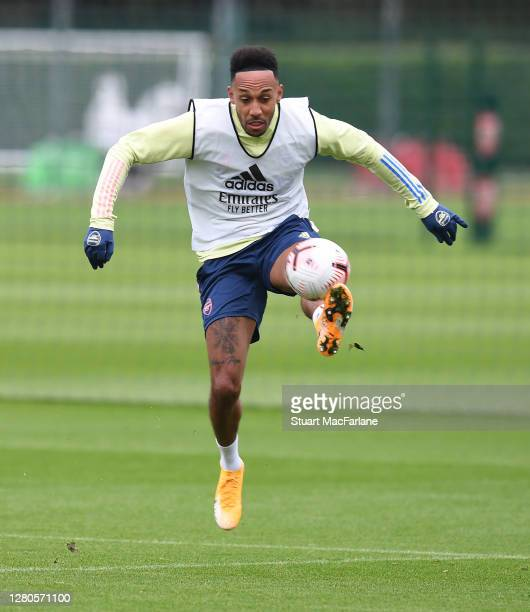 Pierre-Emerick Aubameyang of Arsenal during a training session at London Colney on October 16, 2020 in St Albans, England.