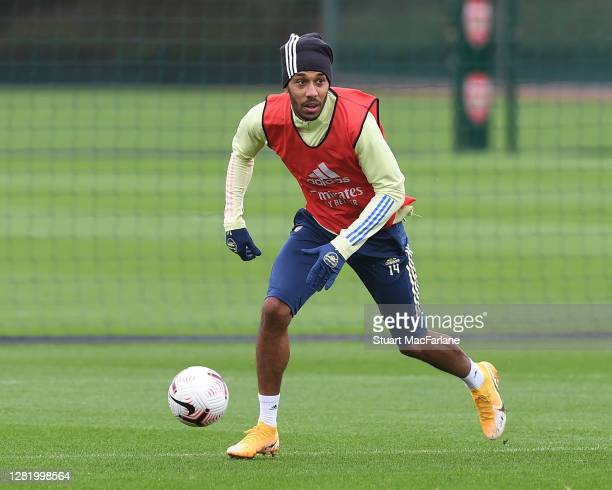 Pierre-Emerick Aubameyang of Arsenal during a training session at London Colney on October 24, 2020 in St Albans, England.